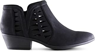 Best Marco Republic Oslo Womens Perforated Cutout Chunky Block Stacked Heels Ankle Booties Boots Review