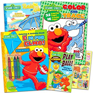 Sesame Street Coloring Book Super Set with Sesame Street Stickers (4 Jumbo Books Featuring Elmo, Cookie Monster, Big Bird and More)