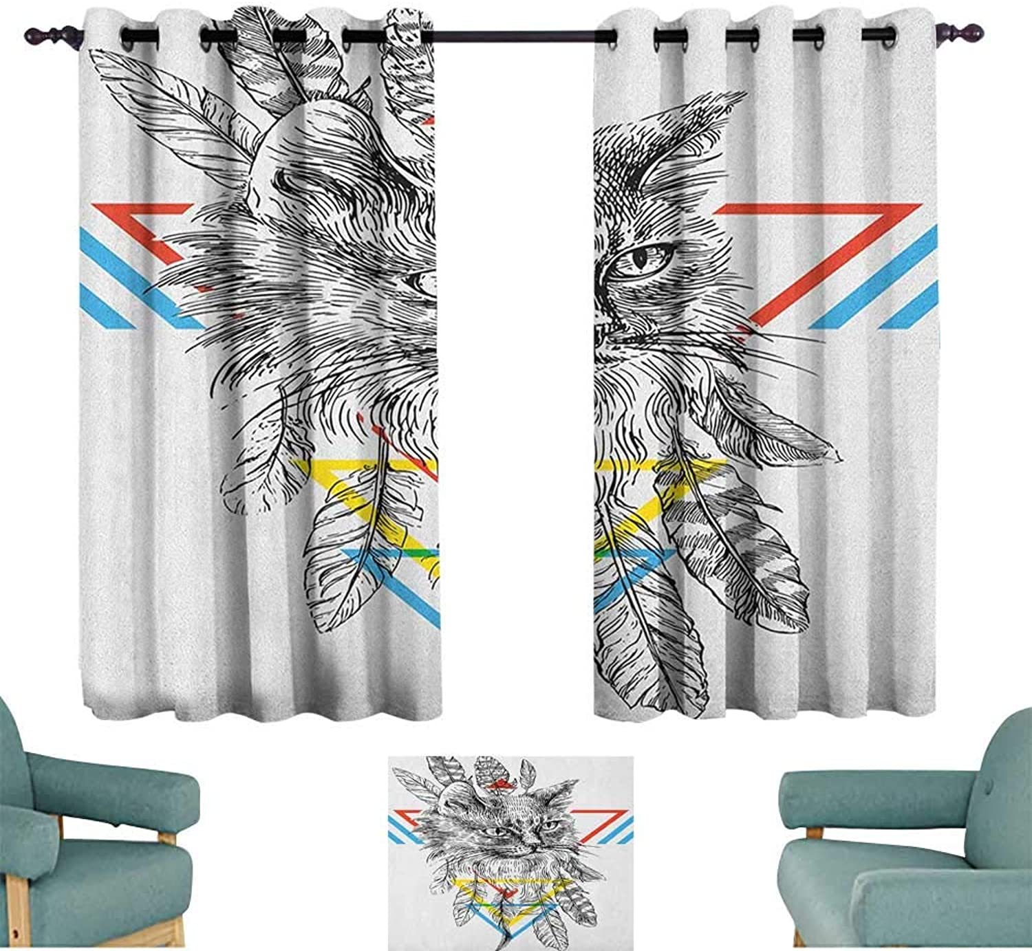 Alisoso Feather,Kids Decor Curtain Ink Sketch Drawing Style Cat Portrait with Geometric Elements Triangles Boho Animal 42 X63  Nursery and Kids Bedroom Curtain
