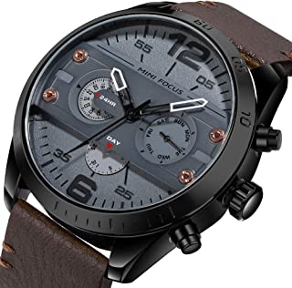 Anself MINI Focus Fashion 3ATM Water-Proof Quartz Men Watch Genuine Leather Sports Military Style Chronograph Man Casual W...