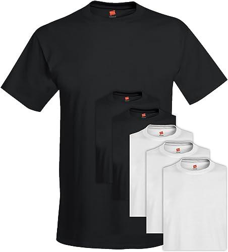 Hanes 5280 Comfortsoft Hommes 's Pack Crew Neck Tee Medium 3 Noir + 3 Blanc