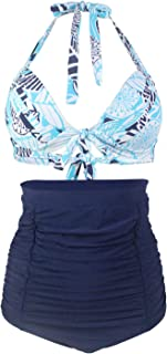 Beach Bathing Suit Swimsuits for Women Covers Up Plus Size Halter Neck Floral High Waist Two-pieces Sexy Bikini for Holiday Comfortable and Stylish (Color : Light Blue, Size : XXL)