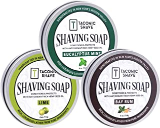 Taconic Shave Barbershop Quality 3 Shaving Soap Variety Pack - with Antioxidant-Rich Hemp Seed Oil - Made in New York's Hudson Valley - Bay Rum, Eucalyptus Mint & Lime 4 oz Soaps!