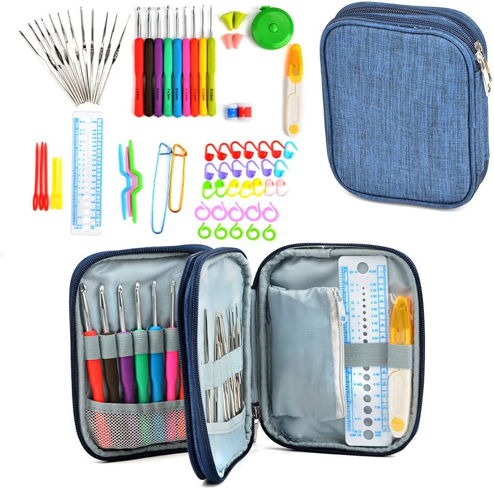 TIMESETL 72Pack Crochet Outlet SALE Hooks Kit Case with Opening large release sale Storage Sta