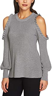 Womens Knit Ruffled Pullover Sweater