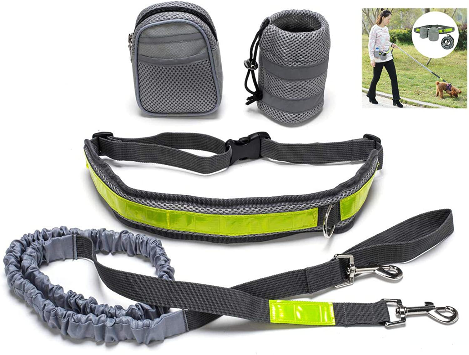 Hands Free Dog Training Kits with Adjustable Waist Belt and Storage Bags, Lightweight and Portable Pouch for Running, Hiking, Walking and Jogging