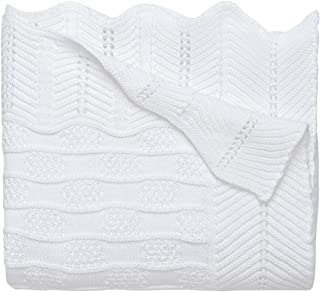 Elegant Baby Premium 100% Cotton Knit Blanket, White Texture Knit, 30
