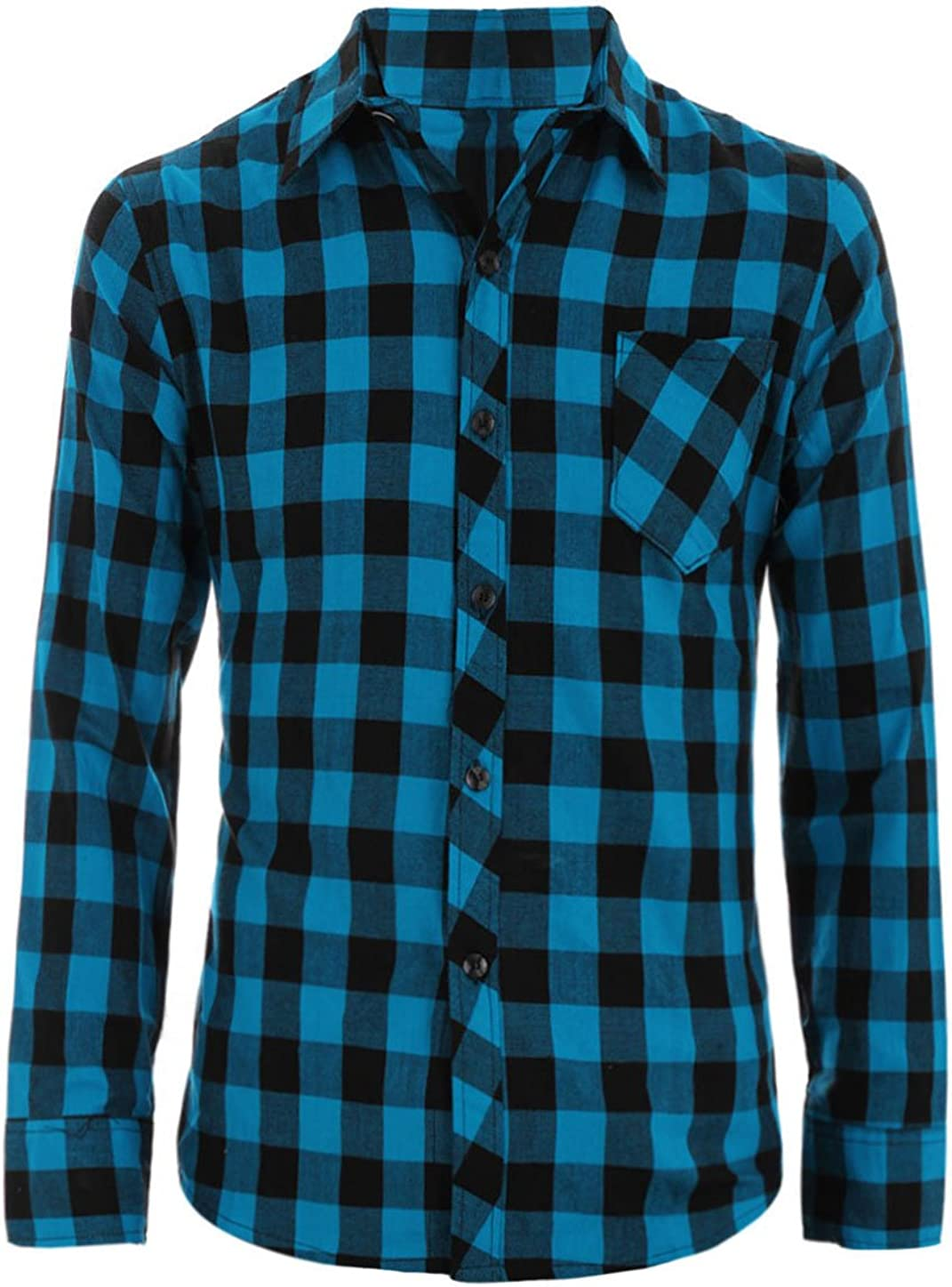 uxcell Men Casual Button Down Long Sleeves Flap Pockets Plaids Flannel Shirt