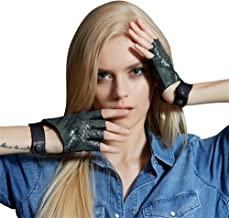 Fioretto Sexy Fingerless Driving Leather Gloves Women Italian Nappa Cosplay Half Gloves
