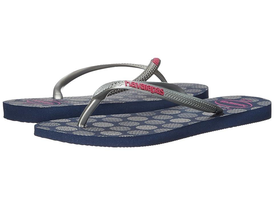 Havaianas Slim Retro Flip Flops (Navy Blue/Silver) Women