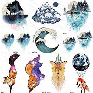 Watercolor Surfing Temporary Tattoos Sticker For Kids Forest Ocean Wave Mountain Custom Tatto Body Art Arm Fake Fox Tattoo 10X6Cm 7Pc
