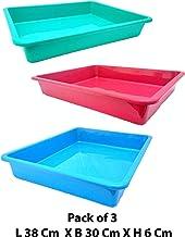 Little Monkey® Plastic Rectangular Shape Multipurpose Organizer Tray (L 38 cm X B 30 cm X H 6 cm) Multi Colour - Pack of 3