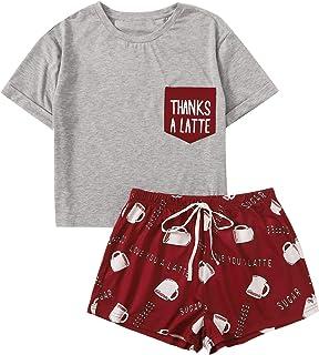 Verdusa Women's 2 Piece Letter Print Tee Shirt Top & Short Sleepwear Pajama Sets