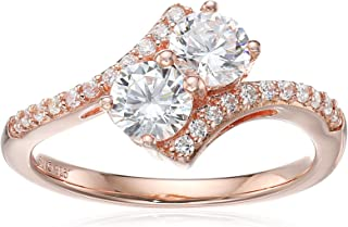 Sterling Silver with Pink Gold Plating Cubic Zirconia Two-Stone Twisted Ring, Size 7