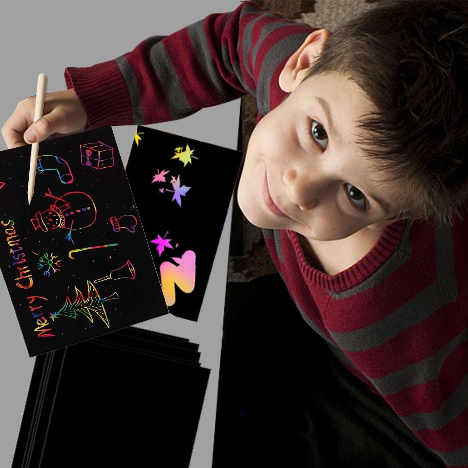SKYFIELD Scratch Paper Art Set 36 Sheets Rainbow Magic Paper Black Scratch it Off Art Crafts Notes Boards with 4 Wooden Stylus for Kids Christmas Birthday Gift