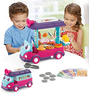 EylbKey BBQ Toy Cart Food Cart Play Set for Kids, Pretend Play Food Truck Set with Light and Sounds for Girls and Boys - B...