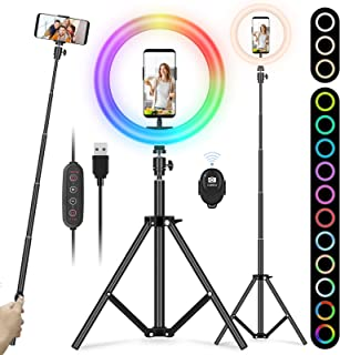 "YISSVIC Luce ad Anello 10"" RGB LED Ring Light per Selfie, 3 Modalità/13 RGB Colori,Estensibile 172cm, con Treppiede e Supp..."