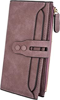 UTO Women's PU Matte Leather Large Capacity Wallet Card Phone Holder Organizer Girls Coin Purse with Snap Closure B Purple