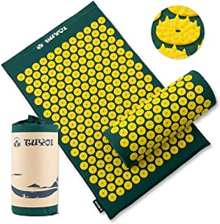 TUYOI Acupressure Mat and Pillow Set Back/Neck Pain Relief 100% Cotto-Linen Massage Cushion for Muscle Relaxation,Sciatic Pain Relief and Trigger Point Therapy- Reflexology Mat Stress Relief