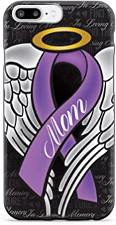 Inspired Cases - 3D Textured iPhone 7 Plus Case - Rubber Bumper Cover - Protective Phone Case for Apple iPhone 7 Plus - in Loving Memory of My Mom - Purple Ribbon