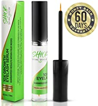 Shiok 10X Growth Eyelash Serum- Clinically Proven Eyelash Growth Enhancer and Brow Serum to Dramatically Boost Lashes and Eyebrows. Guaranteed Results within Four Weeks for Long Lavish Lashes.