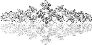 PIXNOR strass nuziale corona diadema cerchio brillante con il pettine (argento)