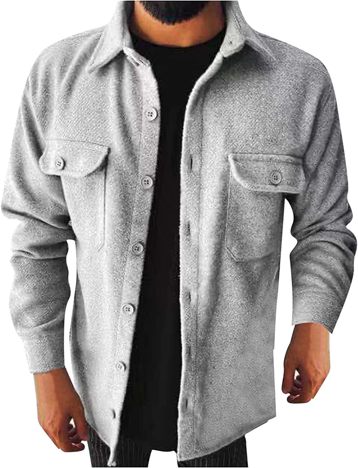 Mens Casual Flannel Corduroy Jackets Big and Tall Long Sleeve Button Down Shirts Tops Sweatshirts with Pockets