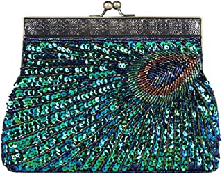 ABOOFAN Peacock Blue Evening Bag Sequin Embroidery Handbag Retro Party Bag Clutch Purse Delicate Pouch for Women Ladies Pa...