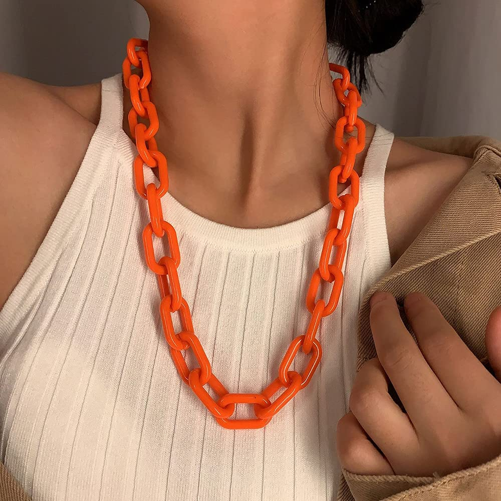 Wiwpar Long Acrylic Choker Necklace Paperclip Chain Necklace Minimalist Multicolor Chunky Chain Collar Necklace for Women and Girls (Orange)
