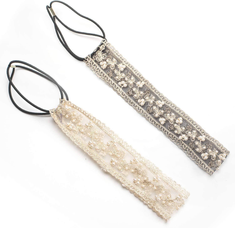 MeniaMeow Elastic Ribbon Classic Headbands, Elegent Luxury Handmade Crystal Rhinestone Jewelry Beads Bridal Wedding Evening Pageants Proms Birthday Gift Headband Satin Ribbon Hiarband Headwrap Hair