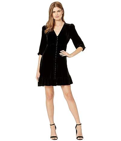 The Kooples Long-Sleeved, Button Down Velvet Dress (Black) Women