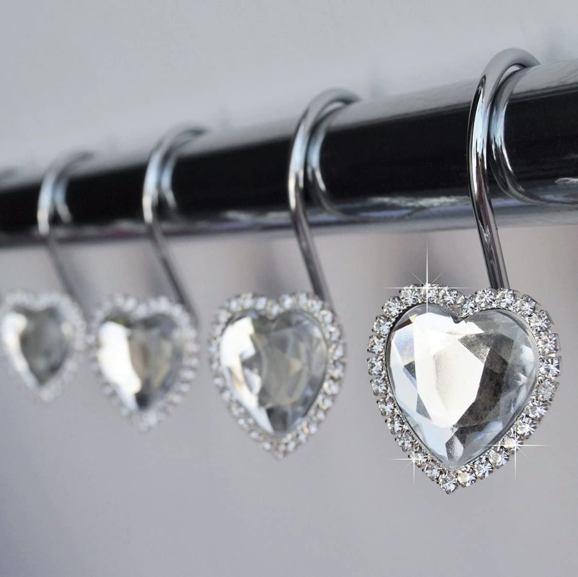 A surprise price is realized Shower Curtain Hooks Rings - Diam Clear Heart Decorative Crystal Attention brand