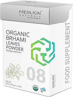 Organic Brahmi Leaves Powder by Merlion Naturals | Bacopa monnieri | 227gm/ 8OZ/ 1/2lb | USDA NOP Certified 100% Organic