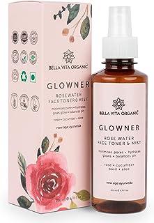 Bella Vita Organic Glowner Face Toner Face Mist, Alcohol free, Rose Water 200ml Pore Minimizing Tightening Natural Toner S...