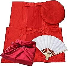 還暦祝い 赤いちゃんちゃんこ 風呂敷包装 5点セット 豪華化粧箱付 鶴亀文様 中綿入り