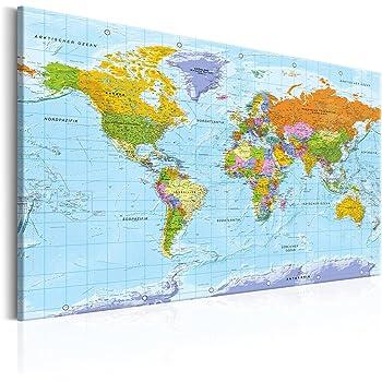 Decomonkey 90x60 Cm Politische Weltkarte Deutsch Pinnwand Leinwand