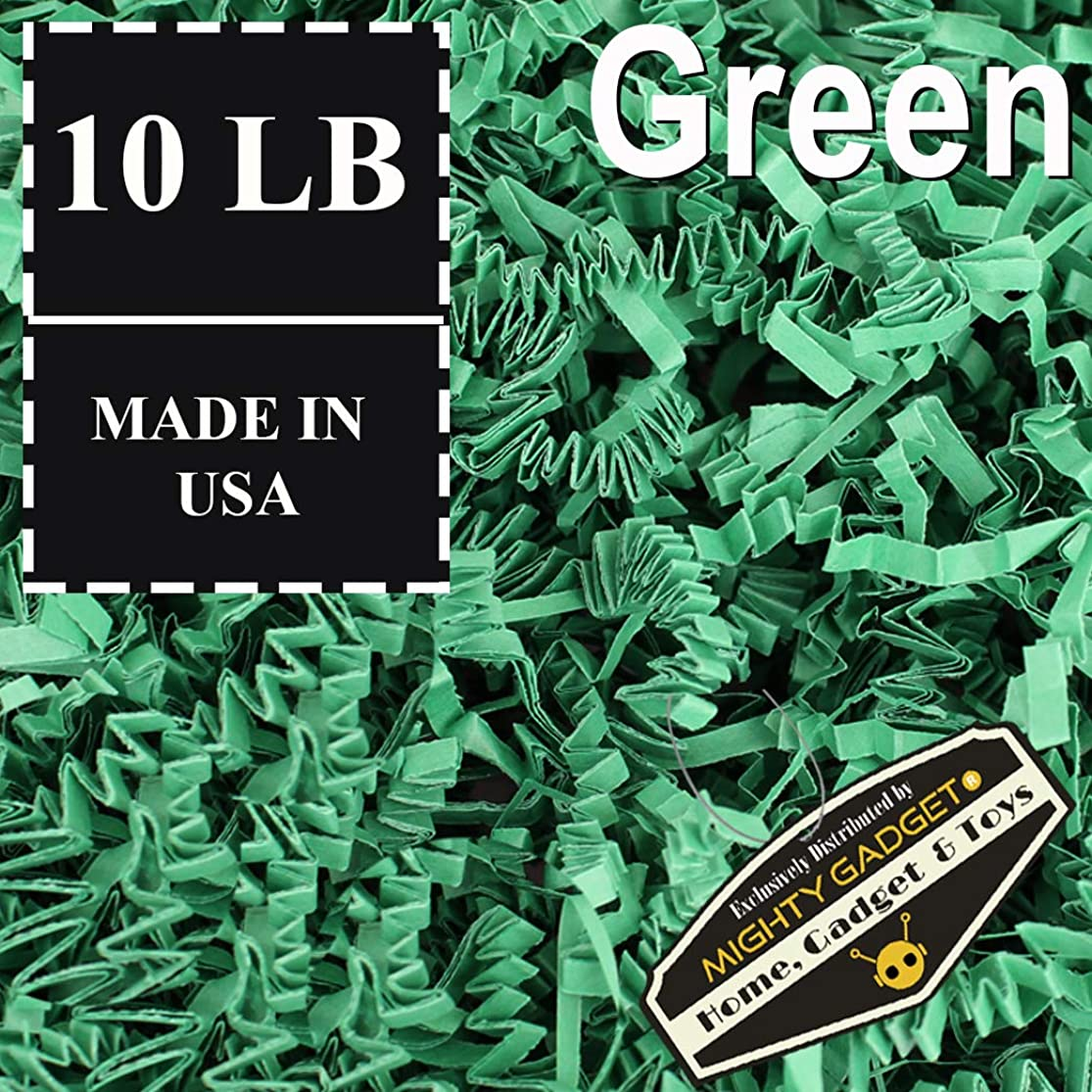 Mighty Gadget Brand 10 LB Value Pack Crinkle Cut Paper Shred Filler for Packing and Filling Gift Baskets, Gift Boxes Natural Craft Bedding in Green (10 LB) kpozhpnz7