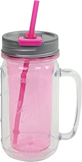 Cool Gear Mason Jar Water Bottle with Handle, 16 oz, Pink