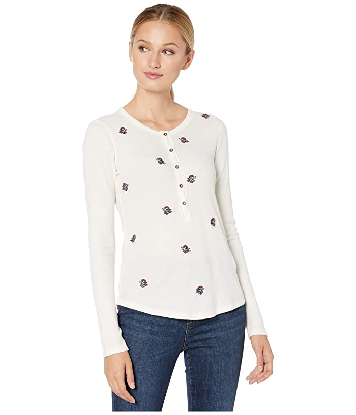 Lucky Brand  All Over Embroidered Thermal Top (Cream Multi) Womens Clothing