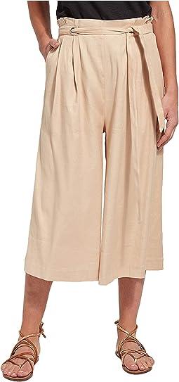 Kendra Wide Leg Crop Pants in Stretch Woven Linen