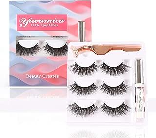 Yiwamica False Eyelashes with Glue 3D False lashes Kit 3 Pairs with Tweezers