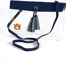 Desden Auburn Tigers Clear Handbag with Logo, Vegan Leather Trim and Tassels