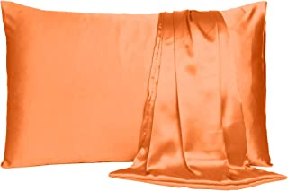 Satin Pillow Cover Pillowcase Soft & Comfortable Silky for Hair & Skin Bedroom Decor (Orange Peel, Regular Size, 18X27 INC...