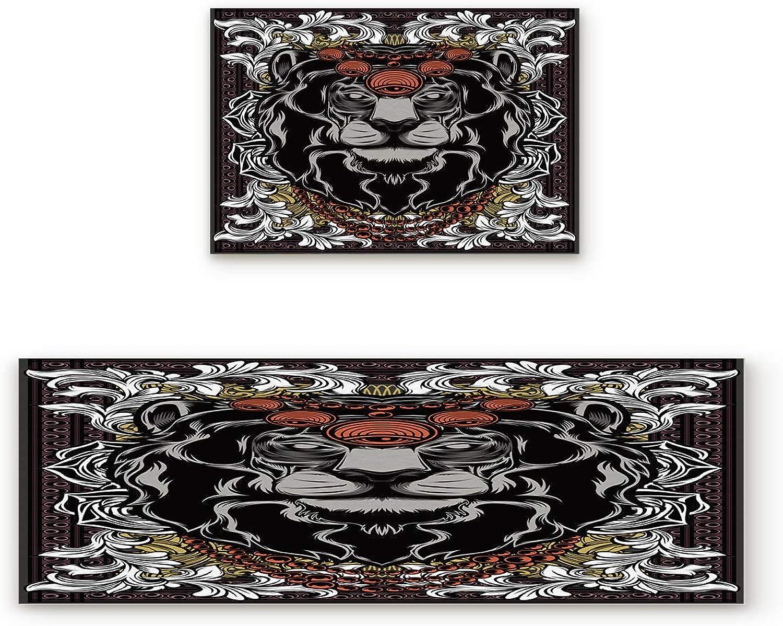 Aomike 2 Piece Non-Slip Kitchen Mat Rubber Backing Doormat Solemn Lion Runner Rug Set, Hallway Living Room Balcony Bathroom Carpet Sets (19.7  x 31.5 +19.7  x 47.2 )