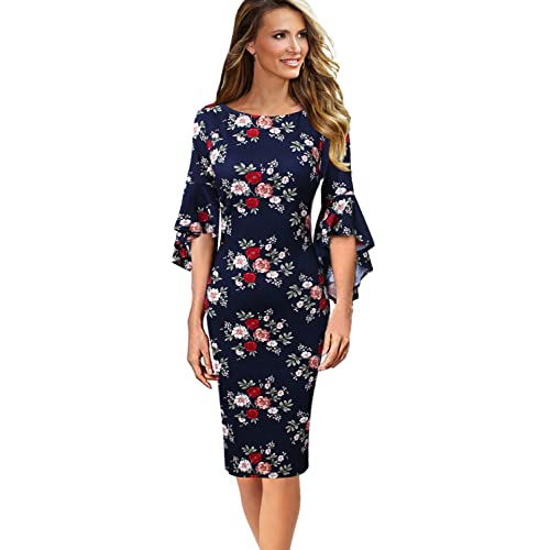 c26bec5429e VfEmage Womens Elegant Bell Sleeve Wear to Work Party Cocktail Sheath Dress