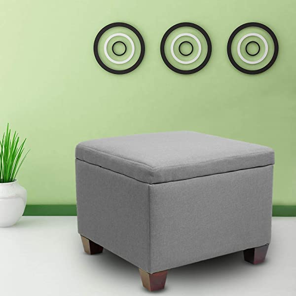 Magshion Button Tufted Accent Storage Ottoman Lift Top Footstool Grey Square