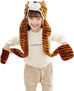 PULAMA Varied Animal Tiger Costume Gloves Scarf 3 in 1 Set Tiger Hat Cap Animal Hood Hat Costume Tiger Toy Hood with Tiger Scarf for Girls and Boys Alike