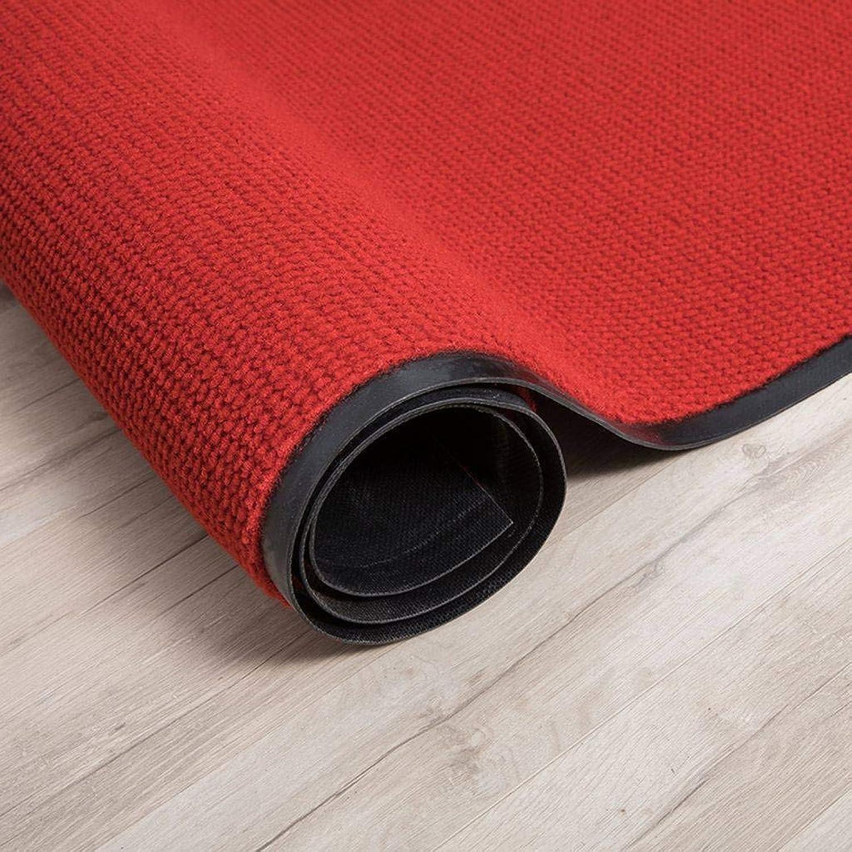 Doormat Indoor Outdoor, Entrance Passage PVC Backing Slip Durable Washable Floor Mat Suitable for Front Doors, Back Doors, Patios, Kitchens, Garages-90x200Cm(35x79Inch)-red