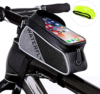 WATERFLY Bike Frame Bag - Waterproof Bike Phone Mount Handlebar Bag Phone Holder Bicycle Accessories for iPhone X/8/7 plus/7/6s/6 plus/5s