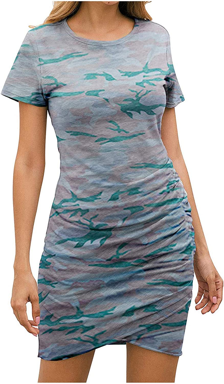 Toeava Tank Dresses for Women, Women Dresses Summer Casual Crewneck Short Sleeve Ruched Short Dress Beach Mini Dress